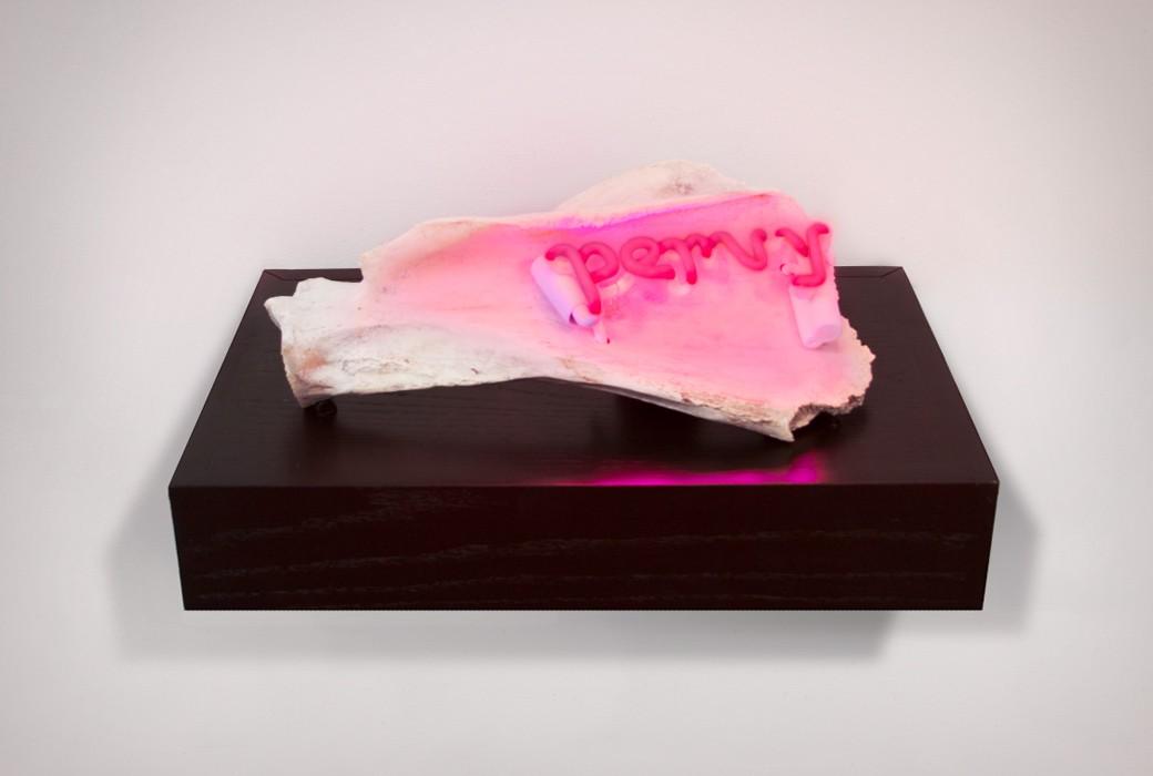 My Pervy Bone, 2013, 8 1/4 x 18 3/4 x 12 3/4 inches, found chewed bone, neon, wood, varnish, electronics